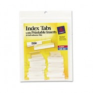 Self-Adhesive Clear 1″ Tabs with White Inserts 25/Pack