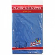 84″ Round Blue Plastic Table Cover- 36/case