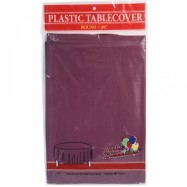 84″ Round Burgundy Plastic Table Cover- 36/case