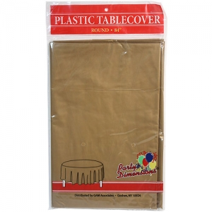 84″ Round Gold Plastic Table Cover- 36/case