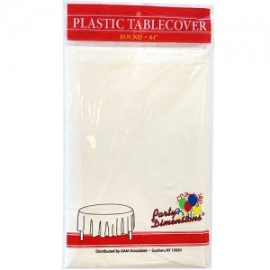84″ Round Ivory Plastic Table Cover- 36/case