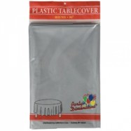 84″ Round Silver Plastic Table Cover- 36/case
