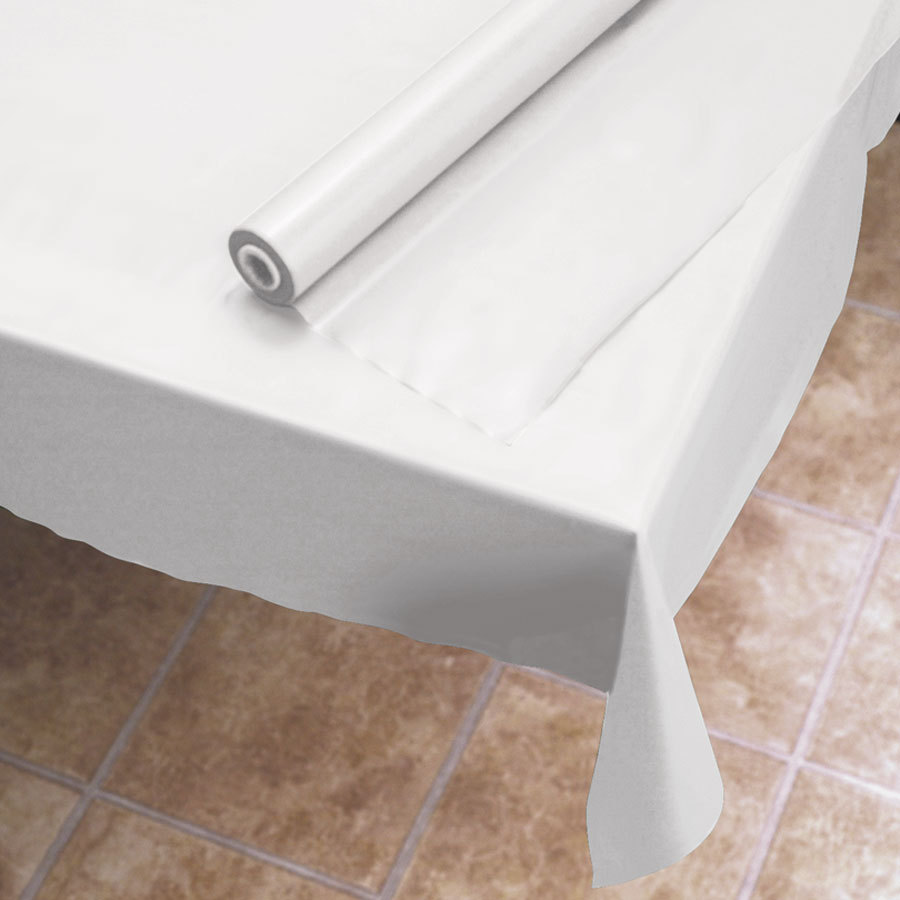 "40""x300 White Plastic Table Cover Roll Dovs by the Case"