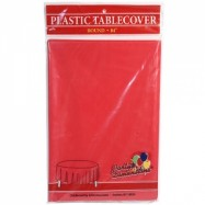 84″ Round Red Plastic Table Cover- 36/case